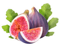 Ripe figs cut piece collection isolated on white background Stock Photo