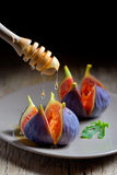 Ripe figs with honey Royalty Free Stock Photo