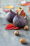 Ripe figs. Figs and nuts with autumn leaves Royalty Free Stock Photography