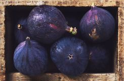 Ripe figs in rustic wooden crate Stock Photo
