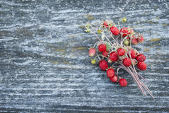 Ripe Forest Wild Strawberry On A Gray Ancient Wooden Back Royalty Free Stock Photography
