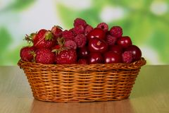 Ripe fragrant berries of strawberry in basket Stock Photography