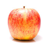 Ripe fresh apple isolated on a white background. Ripe fresh red and yellow stripes apple isolated on a white background stock photo