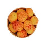 Ripe fresh apricots in wooden bowl over white Stock Photography