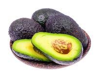 Ripe fresh avocado on white background. Studio Photo royalty free stock photos