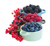 Ripe  of fresh berries in bowls Stock Photos