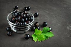 Ripe fresh black currants. On dark background Stock Photo
