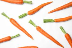 Ripe fresh carrots. On white background stock images