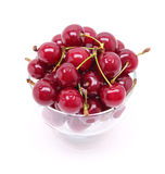 Ripe fresh cherry in the glass isolated on white background Royalty Free Stock Photo
