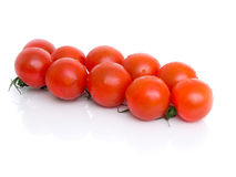 Ripe Fresh Cherry Tomatoes. On Branch Isolated on White Background Royalty Free Stock Photography