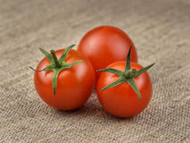 Ripe Fresh Cherry Tomatoes on Coarse Fabric. Or Bagging Background Stock Image