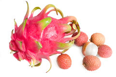 Ripe fresh dragon-fruit and lichi. Ripe fresh dragon-fruit   and lichi on a white background Royalty Free Stock Photo