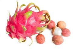 Ripe fresh dragon-fruit and lichi Royalty Free Stock Photo