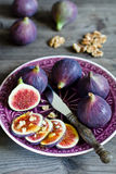 Ripe fresh Fig. Ripe fig with nuts and honey Stock Photography