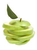 Ripe fresh green apple cut with leaf Royalty Free Stock Images