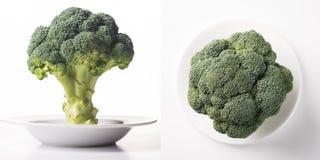 Ripe fresh green cabbage broccoli. Ripe fresh green cabbage broccoli on a white clean plate Royalty Free Stock Image