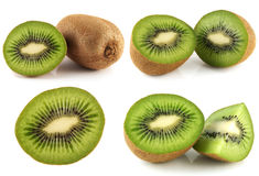 Ripe fresh kiwi set isolated on white background. Royalty Free Stock Photography