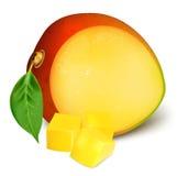 Ripe fresh mango with slices. Royalty Free Stock Photo