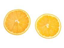 Ripe, fresh orange slice isolated on white background. Royalty Free Stock Photos