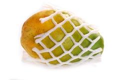 Ripe fresh papaya in foam isolated on white Stock Photos