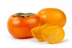 Persimmon fruit isolated white background Royalty Free Stock Images