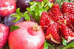 Ripe fresh  pomegranates with leaves Royalty Free Stock Photo