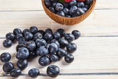 Ripe fresh raspberry and blueberry close up. Food ingredients Royalty Free Stock Photos