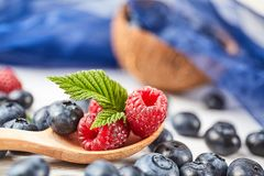 Ripe fresh raspberry and blueberry close up. Food ingredients Royalty Free Stock Image