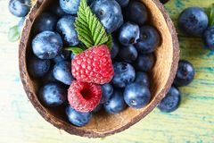 Ripe fresh raspberry and blueberry close up. Food ingredients Royalty Free Stock Photo