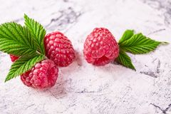 Ripe fresh raspberry close up. Food ingredients Stock Photos