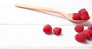 Ripe fresh raspberry close up. Food ingredients Royalty Free Stock Images