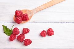 Ripe fresh raspberry close up. Food ingredients Royalty Free Stock Photos