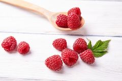 Ripe fresh raspberry close up. Food ingredients Stock Images