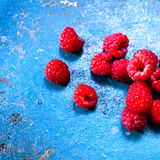 Ripe fresh  raspberry on old  table, closeup. Fresh organic fruit Royalty Free Stock Photography