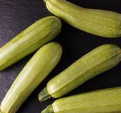 Ripe  fresh raw courgettes on black background. Ripe  green fresh raw zucchini, for cooking, on black background Royalty Free Stock Image