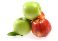 Ripe fresh red and green apple Stock Photos