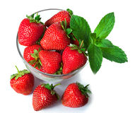 Ripe fresh strawberries on plate Royalty Free Stock Photo