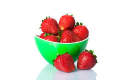 Ripe fresh strawberries on plate Stock Image