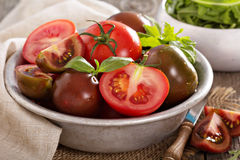 Ripe fresh tomatoes in a bowl Stock Image