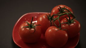 Ripe fresh tomatoes branch lies on red plate on the table stock video footage