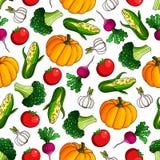 Ripe, fresh vegetables seamless pattern background Stock Photo