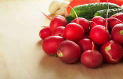 Ripe fresh vegetables on wood table. Food background Stock Photography