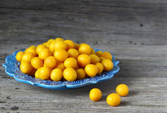 Ripe fresh yellow cherry plums. 
