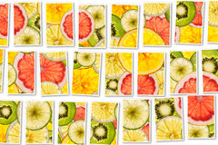 Ripe Fruit collage made from slices of mixed fruit Stock Photos