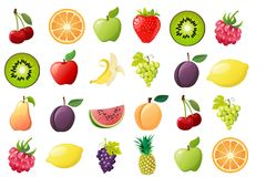 Ripe fruit, illustrations stock image