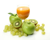 Ripe fruit and juice Stock Photography