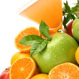 Ripe fruit and juice Stock Images