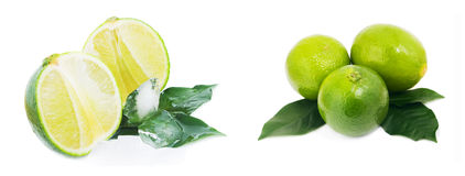 Ripe fruit with lime leaves and ice isolated on white background Stock Photos
