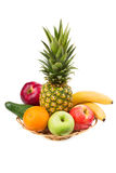 Ripe fruit in vase Stock Images