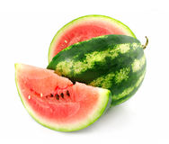 Ripe fruit of water-melon with lobule is isolated. On white background Royalty Free Stock Image